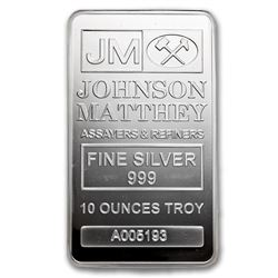 Genuine 10 oz 0.999 Fine Silver Bar - Johnson Matthey