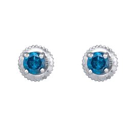 0.50 CTWBlue Color Diamond Solitaire Screwback Stud Earrings 10KT White Gold - REF-26H9M