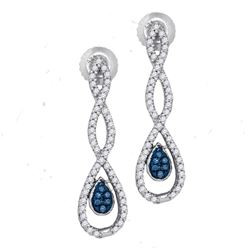 0.26 CTW Blue Color Diamond Dangle Earrings 10KT White Gold - REF-26K9W