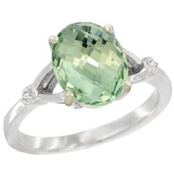 Natural 2.41 ctw Green-amethyst & Diamond Engagement Ring 14K White Gold - REF-33R8Z