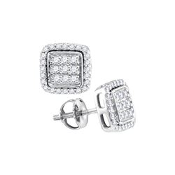 0.33 CTW Diamond Square Cluster Earrings 10KT White Gold - REF-26F9N