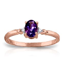Genuine 0.46 ctw Amethyst & Diamond Ring Jewelry 14KT Rose Gold - REF-27K3V