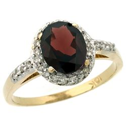 Natural 1.3 ctw Garnet & Diamond Engagement Ring 14K Yellow Gold - REF-32R7Z