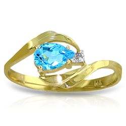 Genuine 0.41 ctw Blue Topaz & Diamond Ring Jewelry 14KT Yellow Gold - REF-26W6Y