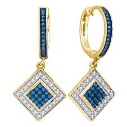 0.50 CTWBlue Color Diamond Square Dangle Earrings 10KT Yellow Gold - REF-30N2F