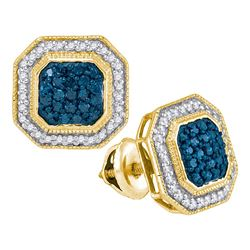 0.50 CTWBlue Color Diamond Octagon Cluster Earrings 10KT Yellow Gold - REF-31K4W