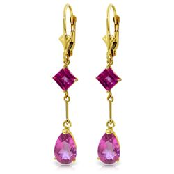 Genuine 4.95 ctw Pink Topaz Earrings Jewelry 14KT Yellow Gold - REF-31R4P
