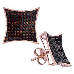 0.51 CTW Red Color Diamond Kite Cluster Earrings 10KT Rose Gold - REF-44X9Y