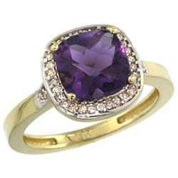 Natural 3.94 ctw Amethyst & Diamond Engagement Ring 14K Yellow Gold - REF-38R3Z