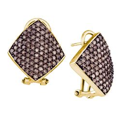 1.9 CTW Cognac-brown Color Diamond Square Cluster Earrings 10KT Yellow Gold - REF-67K4W