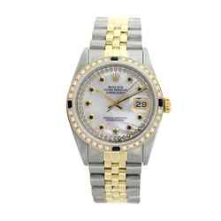 Rolex Pre-owned 26mm Womens Custom String White MOP Two Tone - REF-540K2X