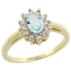 Natural 0.67 ctw Aquamarine & Diamond Engagement Ring 10K Yellow Gold - REF-40V5F