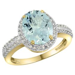 Natural 2.56 ctw Aquamarine & Diamond Engagement Ring 10K Yellow Gold - REF-42M8H