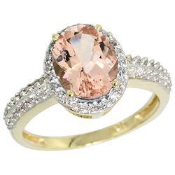 Natural 1.86 ctw Morganite & Diamond Engagement Ring 10K Yellow Gold - REF-41F3N