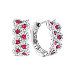 1.5 CTW Ruby Outline Luxury Hoop Earrings 14KT White Gold - REF-142Y4X