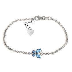 Genuine 0.60 ctw Blue Topaz Bracelet Jewelry 14KT White Gold - REF-41F6Z