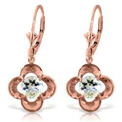 Genuine 1.10 ctw Aquamarine Earrings Jewelry 14KT Rose Gold - REF-40N8R