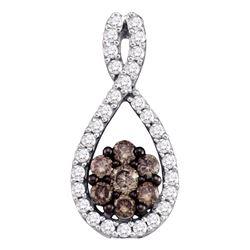 0.38 CTW Cognac-brown Color Diamond Cluster Pendant 10KT White Gold - REF-24N2F