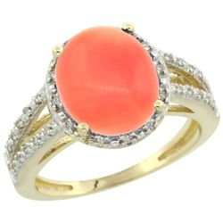 Natural 3.42 ctw Coral & Diamond Engagement Ring 10K Yellow Gold - REF-35H3W