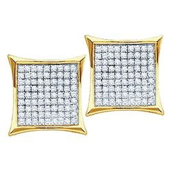 0.20 CTW Pave-set Diamond Square Kite Cluster Earrings 10KT Yellow Gold - REF-16F4N