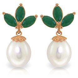 Genuine 9.5 ctw Emerald & Pearl Earrings Jewelry 14KT Rose Gold - REF-35F2Z