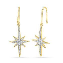 0.16 CTW Diamond Starburst Dangle Earrings 10KT Yellow Gold - REF-18N2F