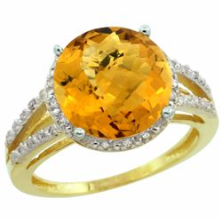 Natural 5.34 ctw Whisky-quartz & Diamond Engagement Ring 14K Yellow Gold - REF-43G5M