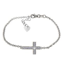 Genuine 0.05 ctw Diamond Anniversary Bracelet Jewelry 14KT White Gold - REF-61Z8N