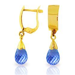 Genuine 2.5 ctw Blue Topaz Earrings Jewelry 14KT Yellow Gold - REF-22N3R