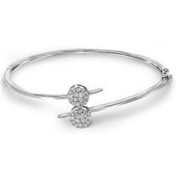 0.76 CTW Princess Diamond Double Cluster Bangle Bracelet 14KT White Gold - REF-112K5W
