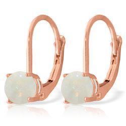 Genuine 0.70 ctw Opal Earrings Jewelry 14KT Rose Gold - REF-24A3K