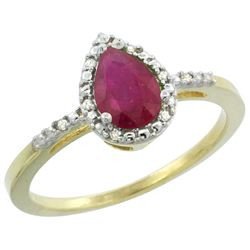 Natural 1.03 ctw ruby & Diamond Engagement Ring 10K Yellow Gold - REF-18W9K