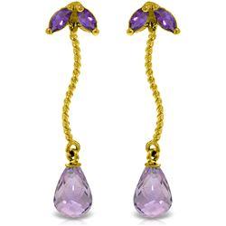 Genuine 3.4 ctw Amethyst Earrings Jewelry 14KT Yellow Gold - REF-21Z6N