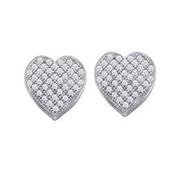 0.10 CTW Diamond Heart Screwback Earrings 10KT White Gold - REF-8X9Y
