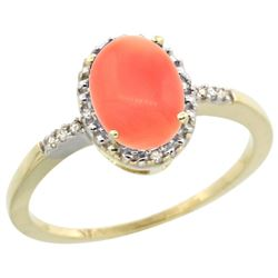 Natural 1.15 ctw Coral & Diamond Engagement Ring 14K Yellow Gold - REF-22N5G