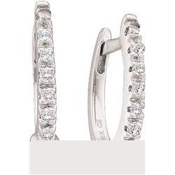 0.08 CTW Diamond Hoop Earrings 10KT White Gold - REF-10M5H