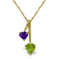 Genuine 1.40 ctw Peridot & Amethyst Necklace Jewelry 14KT Yellow Gold - REF-23H8X
