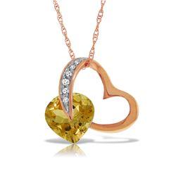 Genuine 3.2 ctw Citrine & Diamond Necklace Jewelry 14KT Rose Gold - REF-49K6V