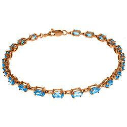 Genuine 5.5 ctw Blue Topaz Bracelet Jewelry 14KT Rose Gold - REF-96V4W