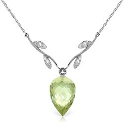 Genuine 9.52 ctw Green Amethyst & Diamond Necklace Jewelry 14KT White Gold - REF-36N3R