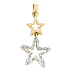 0.11 CTW Diamond Star Pendant 10KT Yellow Gold - REF-10M5H