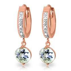 Genuine 2.28 ctw Aquamarine & Diamond Earrings Jewelry 14KT Rose Gold - REF-56R2P