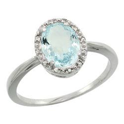 Natural 1.05 ctw Aquamarine & Diamond Engagement Ring 10K White Gold - REF-23W7K