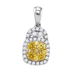 0.74 CTW Yellow Diamond Cluster Pendant 14KT White Gold - REF-75H2M