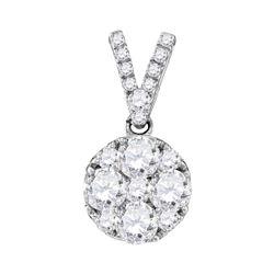0.99 CTW Diamond Cluster Pendant 10KT White Gold - REF-116H3M