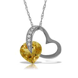 Genuine 3.2 ctw Citrine & Diamond Necklace Jewelry 14KT White Gold - REF-49K6V
