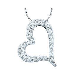 0.33 CTW Pave-set Diamond Heart Outline Pendant 14KT White Gold - REF-37H5M