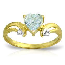 Genuine 0.96 ctw Aquamarine & Diamond Ring Jewelry 14KT Yellow Gold - REF-44T3A