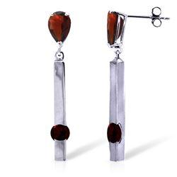 Genuine 4.25 ctw Garnet Earrings Jewelry 14KT White Gold - REF-54Y6F