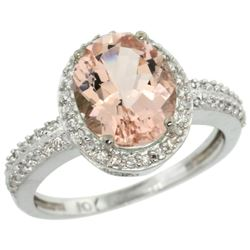 Natural 2.56 ctw Morganite & Diamond Engagement Ring 14K White Gold - REF-66F2N